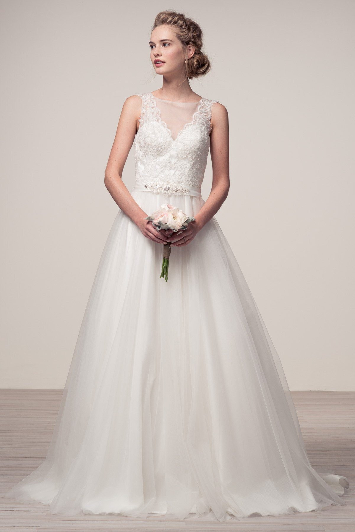 romantic lace bodice a-line ball gown wedding dress BC#wjw150102