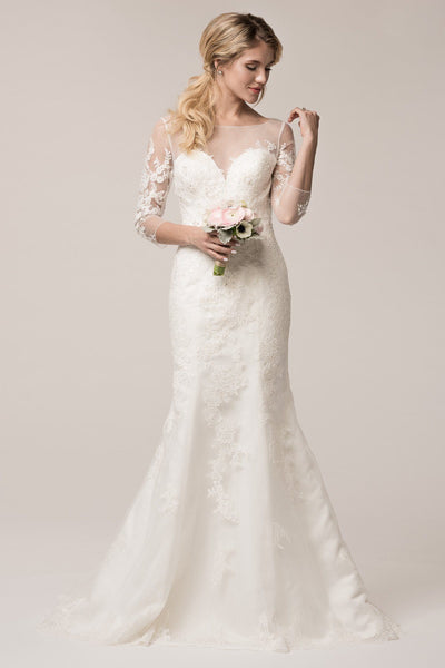 Inexpensive long sleeve lace mermaid wedding dress  wjw161006 - Simply Fab Dress