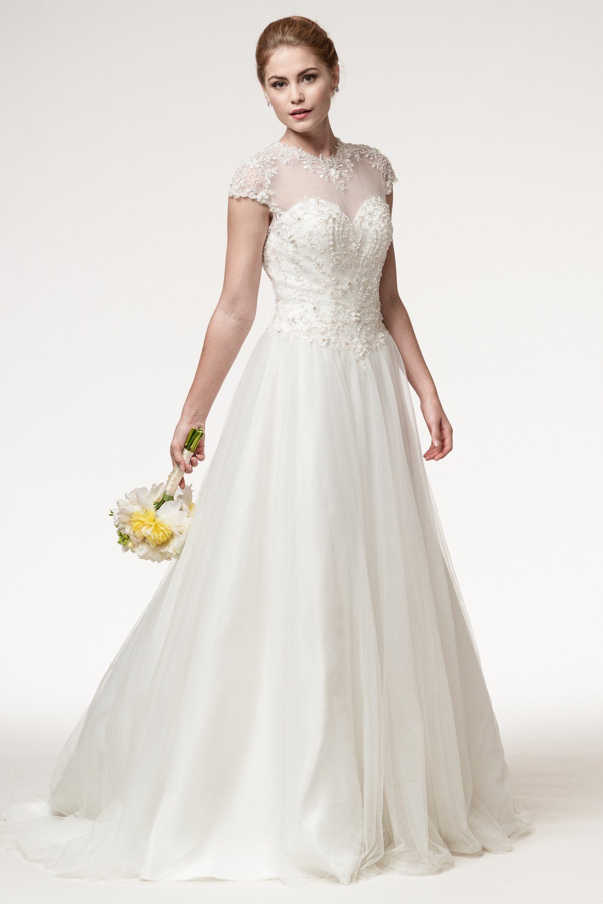 Cap sleeve lace ball gown wedding dress Bc# wjw1787 – Simply Fab Dress
