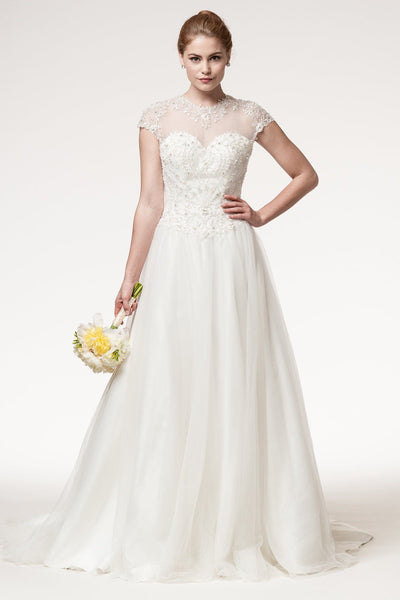 Cap sleeve ball gown wedding dress Bc# wjw1787