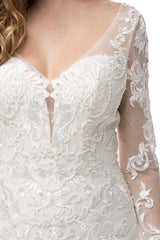 Long sleeve lace mermaid wedding dress BC# WJW2132L - Simply Fab Dress