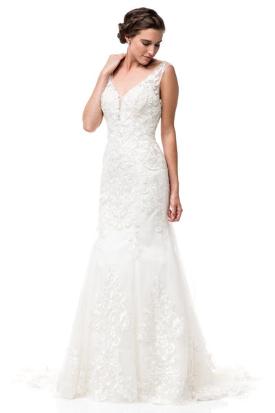 Inexpensive V cut neckline lace mermaid wedding  dress WJW2132 - Simply Fab Dress