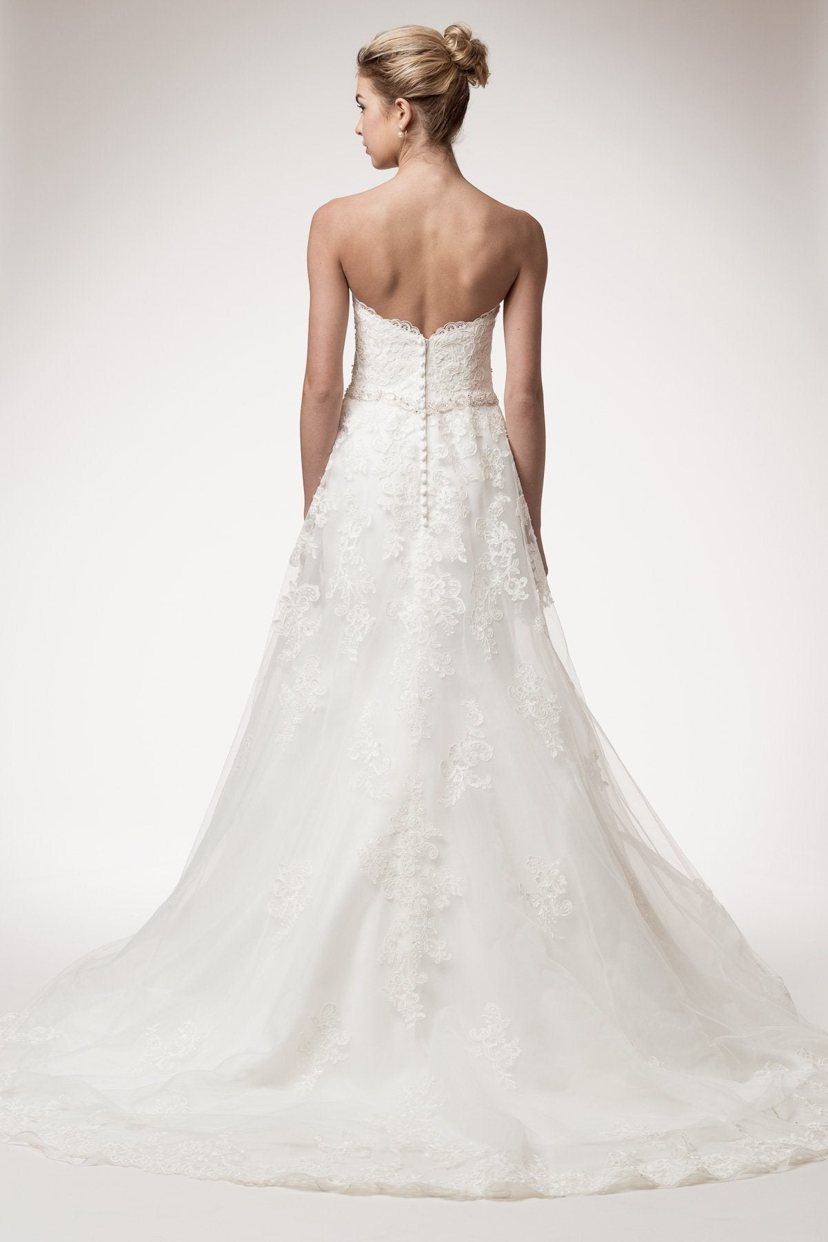 Strapless A-line lace wedding dress WYW1942-Simply Fab Dress