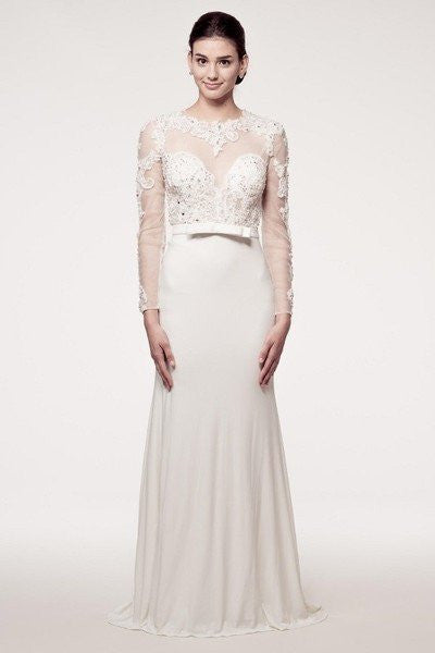 long sleeve vintage lace applique sheath wedding dress – Simply Fab ...