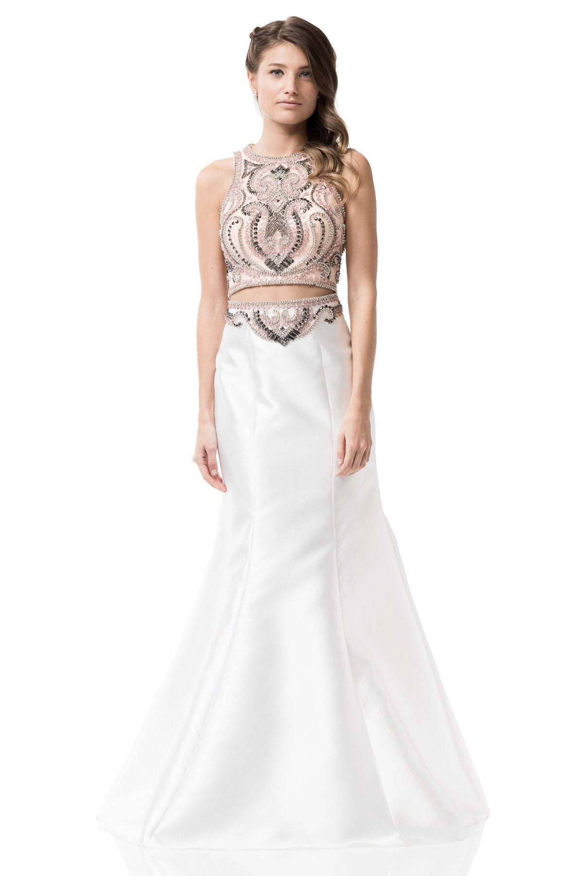 White two piece long prom dress Bc-yd610-Simply Fab Dress