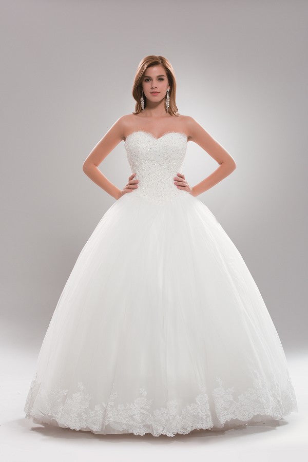 Strapless princess ballgown wedding dress plus size for Princess plus size wedding dresses