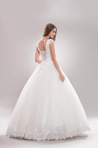 Cap sleeve princess ballgown plus size wedding dress AB6722 - Simply Fab Dress