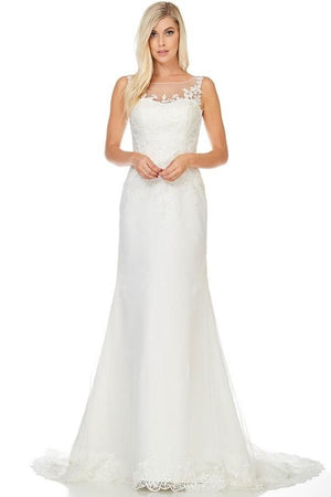 Cheap lace wedding dress with detachable train  BC ACW2007 - Simply Fab Dress