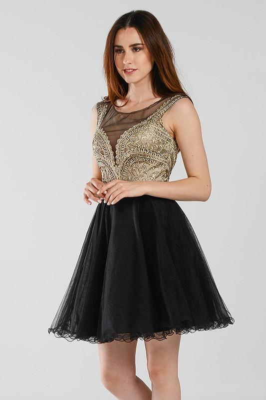 Dazzling Beaded Black Short Homecoming Dress With Tulle Skirt Poly