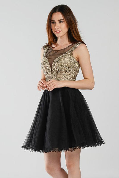 Dazzling beaded black short homecoming dress with tulle skirt #poly 7540 - Simply Fab Dress