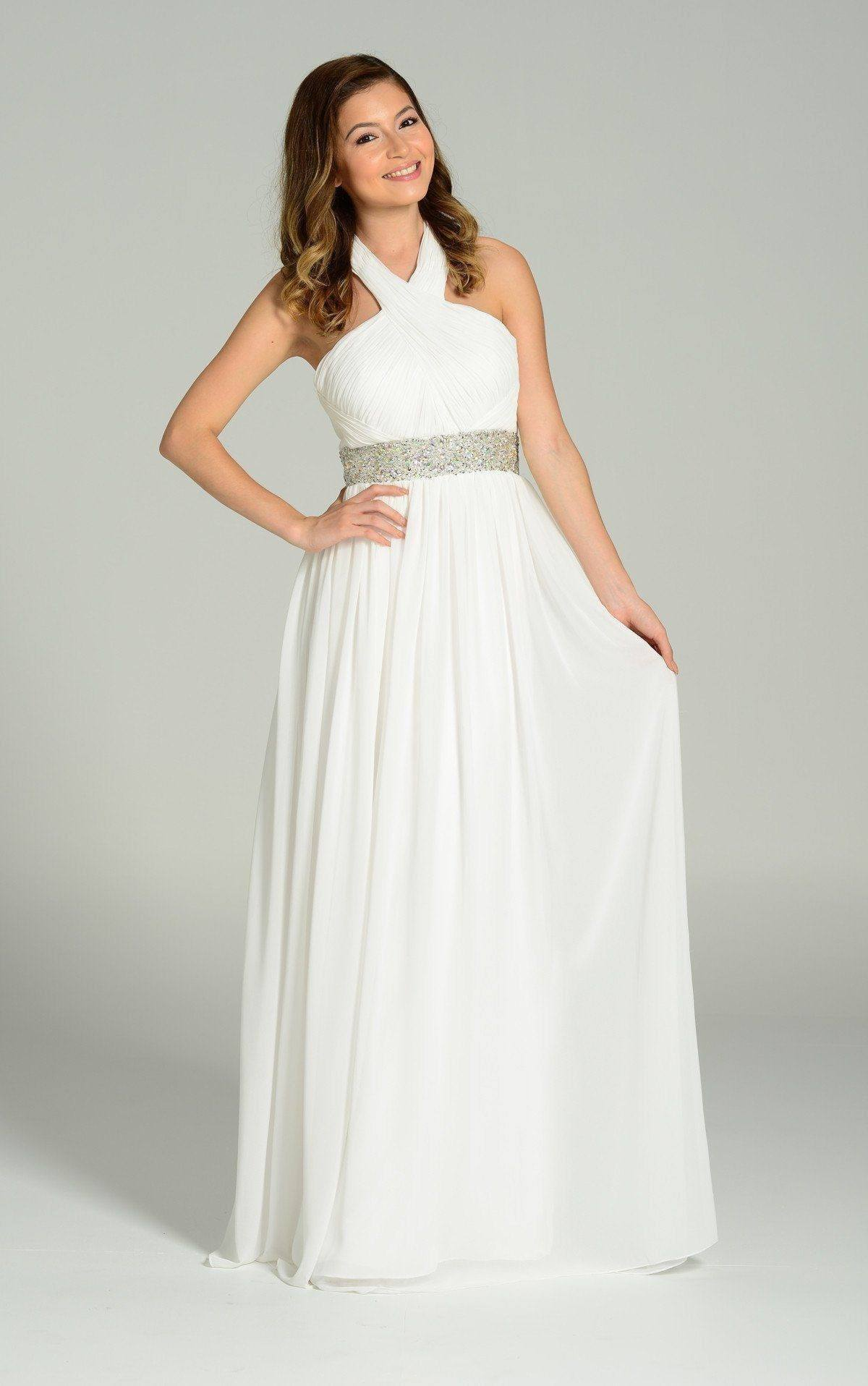 Elegant long chiffon wedding dress pol#7248 – Simply Fab Dress