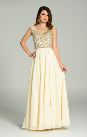 Fully beaded bodice long bridesmaids dress 101- 7250 - Simply Fab Dress