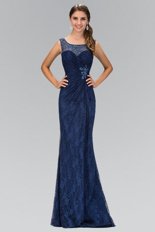 Lace Long Dress with Sheer Illusion Neckline 103-GL1392 Prom dress Bridesmaid dress - Simply Fab Dress