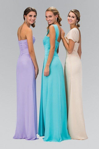 One strap long chiffon cheap bridesmaid dress 103-gl1390 - Simply Fab Dress