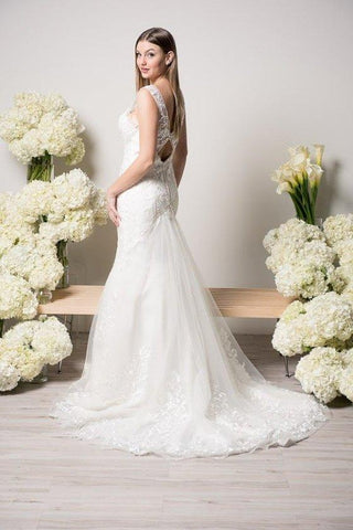 Inexpensive V cut neckline lace mermaid wedding dress WJW2132 - Simply Fab  Dress 7ae600036