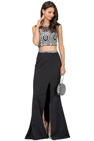 Long two piece prom dress with slit  DQ2307