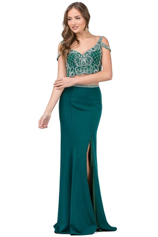 Sparkly long two 2 piece prom dress DQ2331
