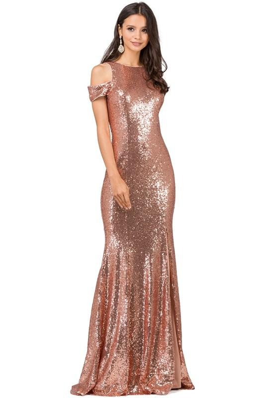 Glamorous off the shoulders sequins dress DQ2360