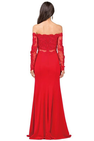 Long sleeves fitted evening dress  DQ2275