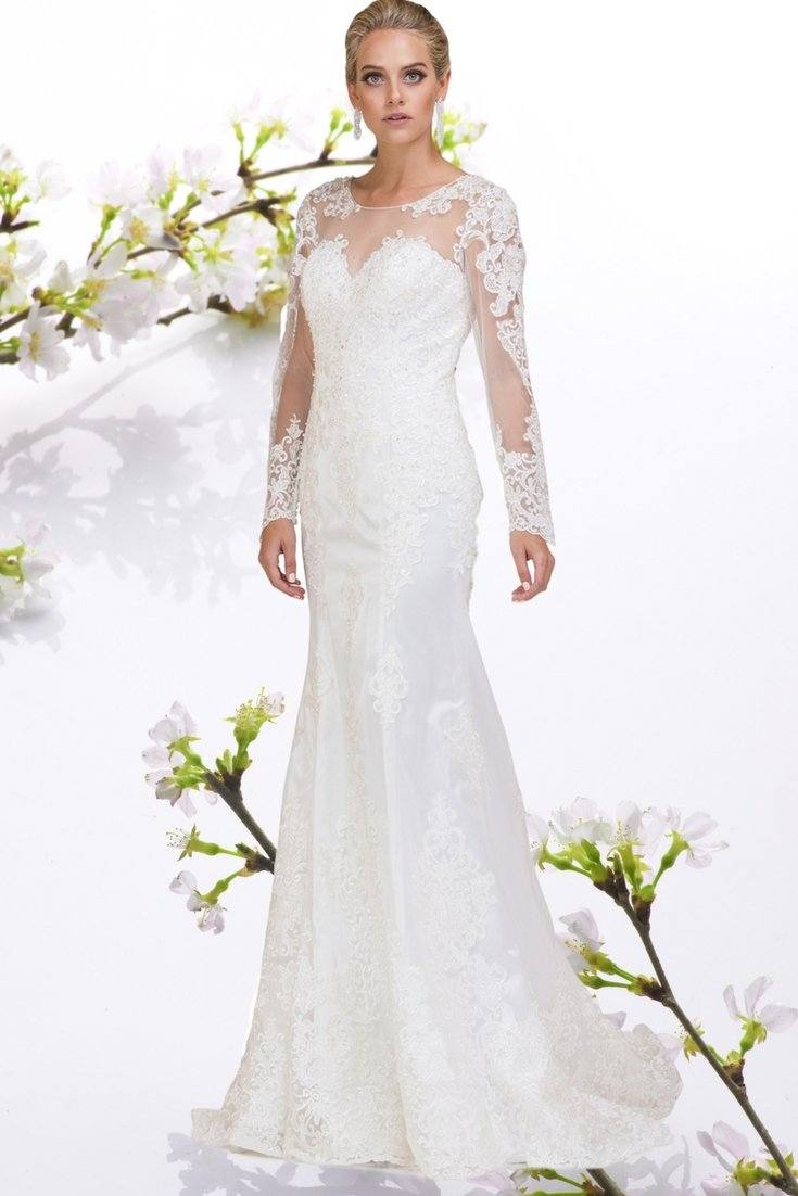 sheer long sleeve lace plus size wedding dress #DQ0016
