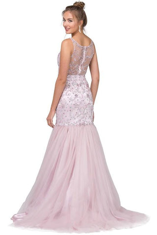 Stunning blush pink mermaid dress dq2250