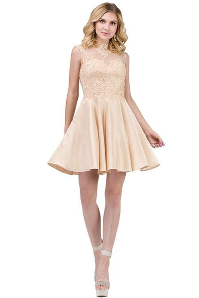Champagne gold homecoming dress DQ3069-Simply Fab Dress