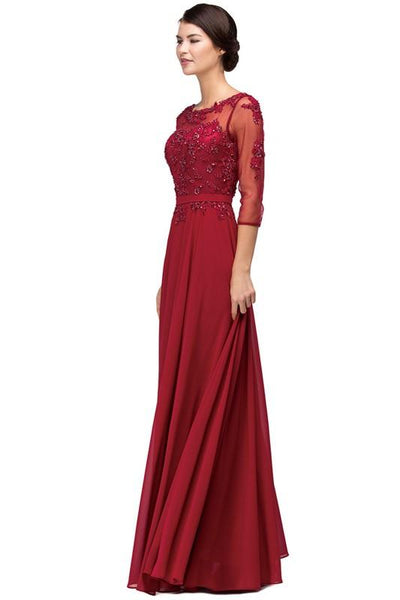 Long sleeve sheer illusion evening gown DQ9473