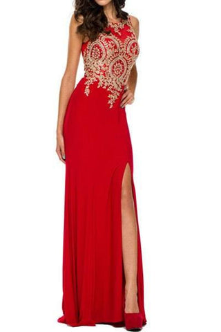 Floor length dress with gold applique 105-588 Prom dress Evening gown - Simply Fab Dress