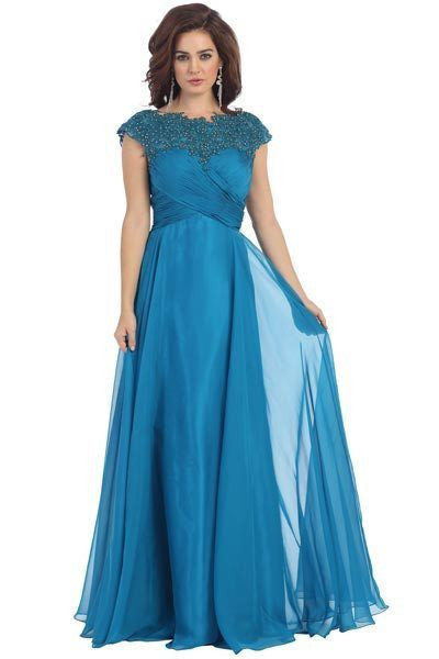 Lace illusion neckline long chiffon evening gown 100-mq1178 ...