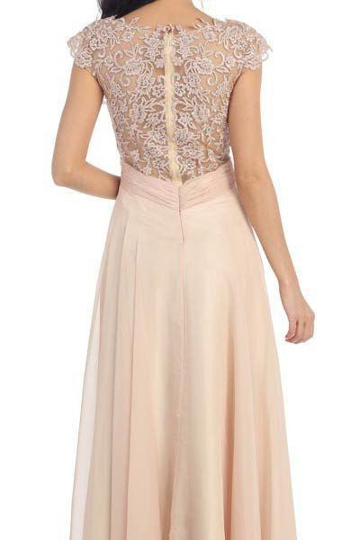 07dbd08f67b ... Lace illusion neckline long chiffon evening gown 100-mq1178 - Simply  Fab Dress ...
