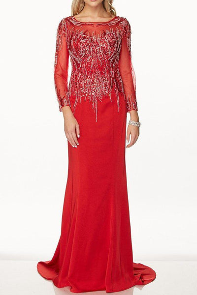 long sleeve full beaded evening gown 105-646 Prom dress Evening gown - Simply Fab Dress