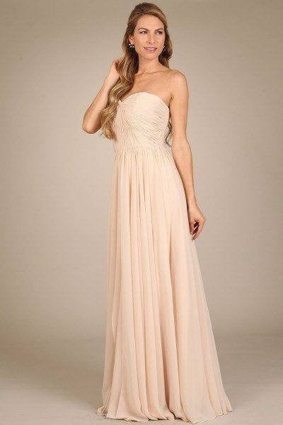Strapless long chiffon cheap bridesmaid dress MF-m1411 - Simply Fab Dress