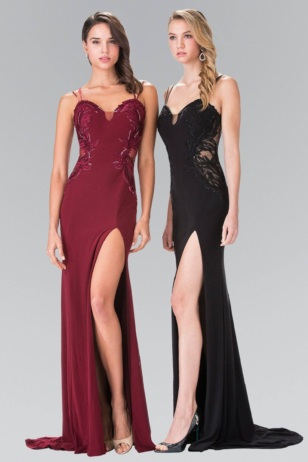 Cheap Sexy V-cut fitted formal dress with high slit #gl2223 - Simply Fab Dress