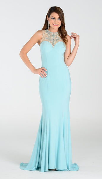 Elegant mermaid dress with lace illusion beaded neckline and back 101-7316 Prom dress - Simply Fab Dress