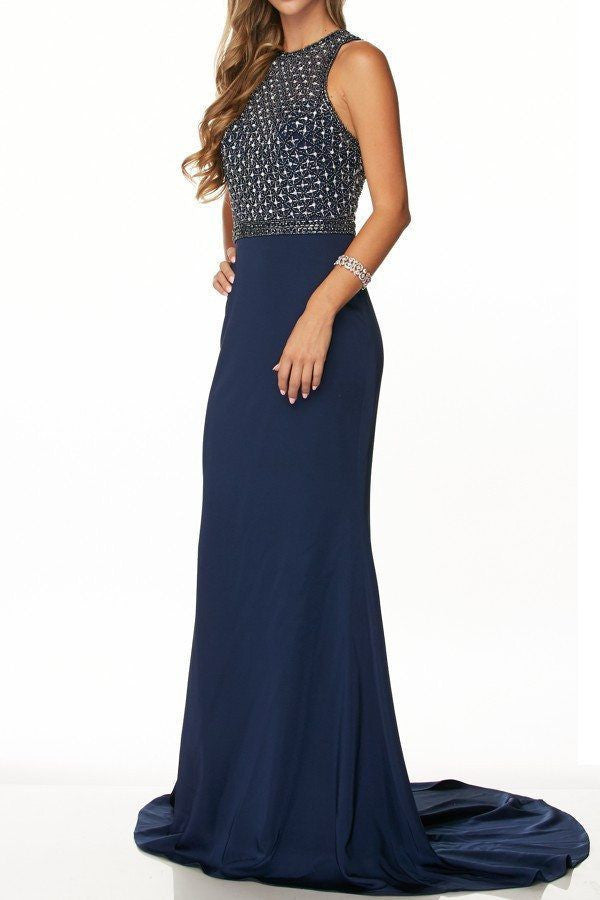 high neckline sheer  illusion floor length dress 105-649 Prom dress Evening gown - Simply Fab Dress