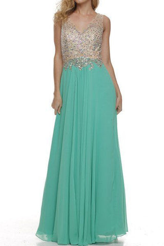 V neckline fully beaded bodice prom dress 105-573 - Simply Fab Dress