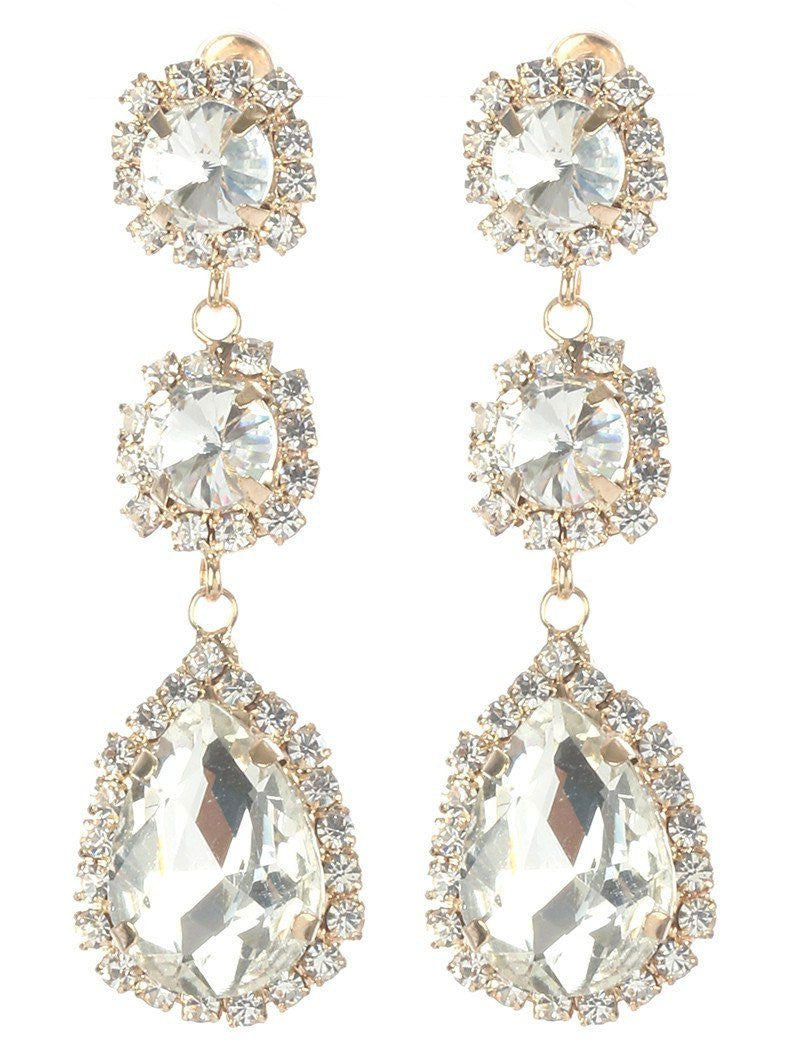 Gorgeous rhinestone fashion earrings  MME24692gdcl - Simply Fab Dress
