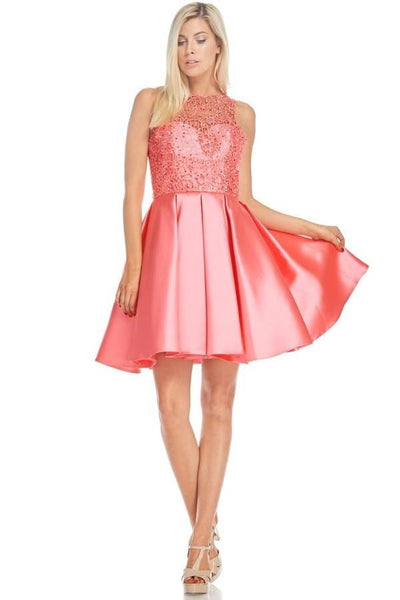 Lace bodice inexpensive homecoming dress BC#md1637s - Simply Fab Dress