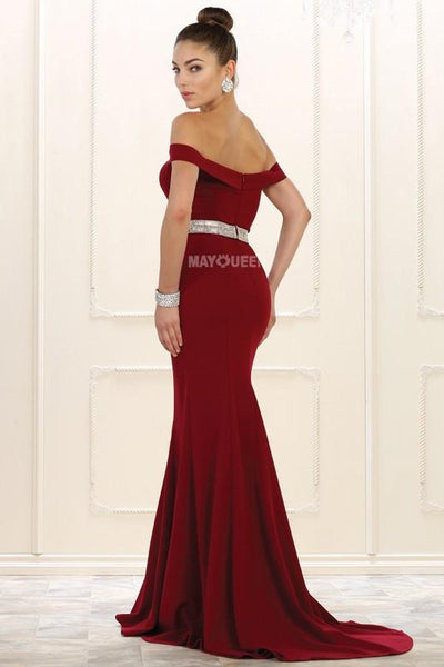 Fitted off the shoulder evening gown MQ1545-Simply Fab Dress