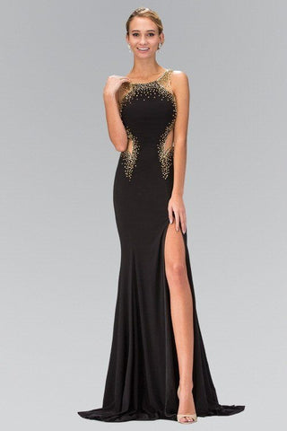 Sexy fitted formal dress Accented with Gold Beading 103-GL1399 Prom dress - Simply Fab Dress