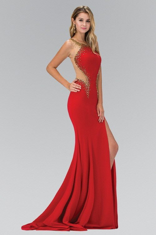 c5d9eb6d7988 ... Sexy fitted formal dress Accented with Gold Beading 103-GL1399 Prom  dress - Simply Fab ...