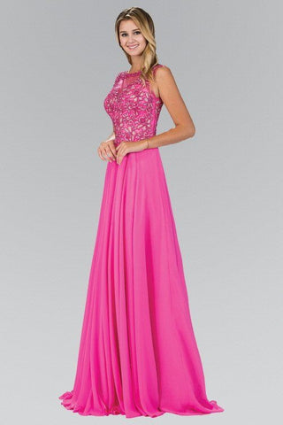 Lace Bodice Bead Embellished Floor Length Dress 103-GL1410 Prom dress - Simply Fab Dress