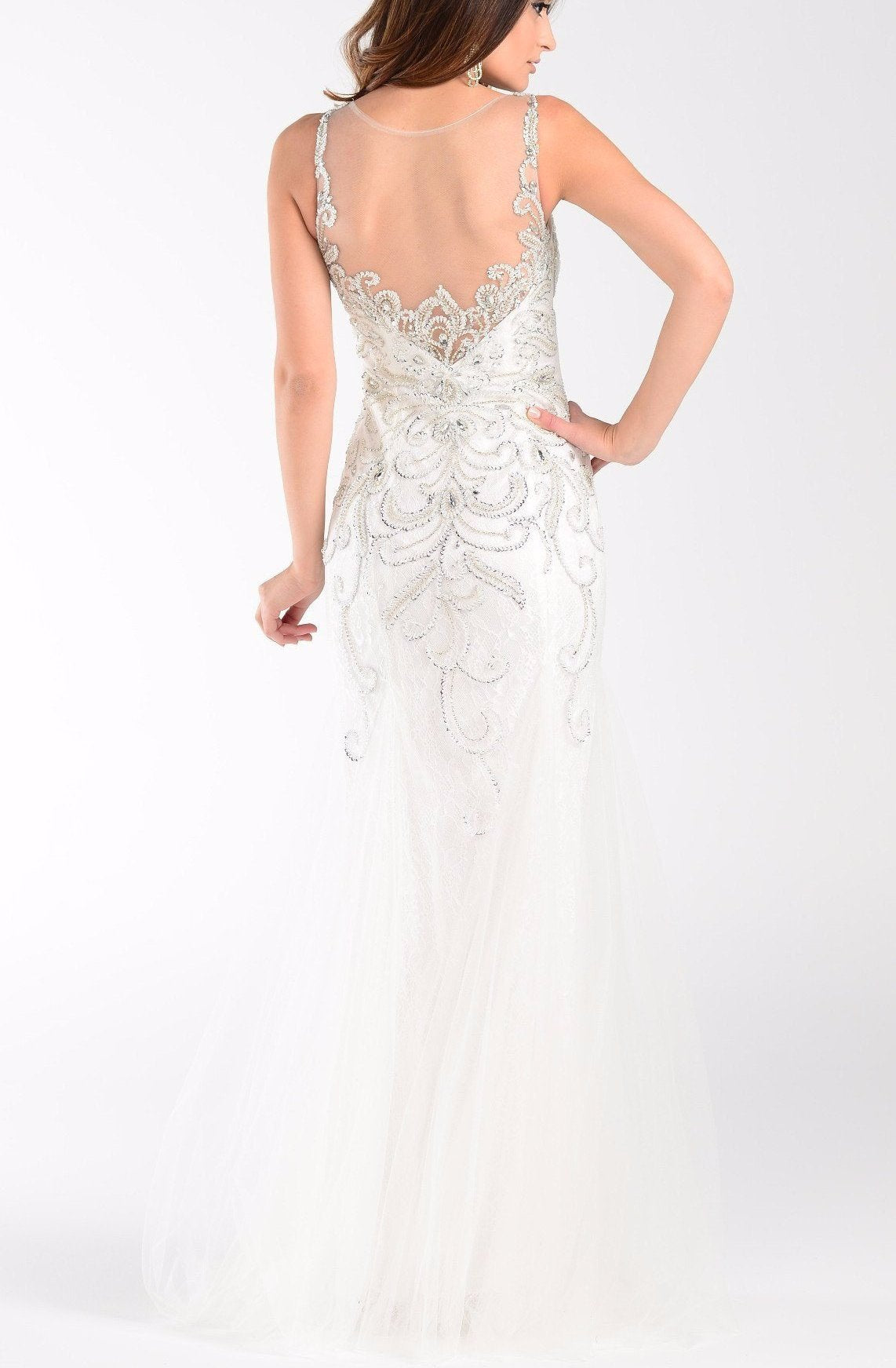 Mermaid wedding dress with tulle skirt 101-7322wht – Simply Fab Dress