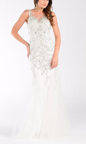 Mermaid wedding dress with tulle skirt 101-7322wht - Simply Fab Dress