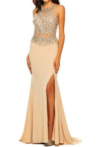 Sexy beaded sheer bust prom dress with high Neckline 105-602 Evening dress
