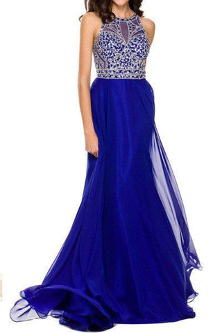 Sexy beaded sheer bust prom dress with high Neckline 105-602 Evening dress - Simply Fab Dress