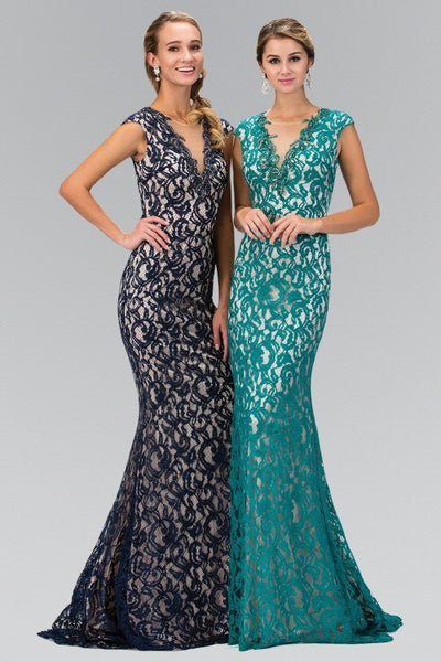 V-Neck and Sheer Back Lace Floor Length Dress 103-GL1420 Prom dress - Simply Fab Dress