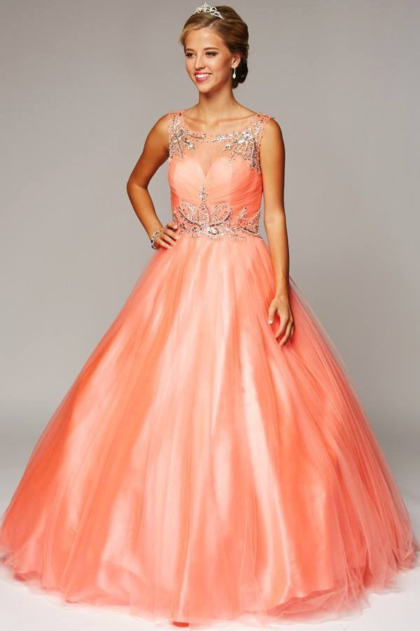 Peach colored ball dresses