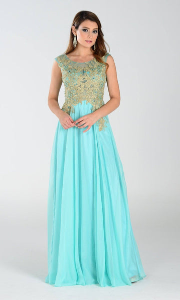 Beaded sheer illusion bodice long chiffon cheap formal dress pol#7328 - Simply Fab Dress