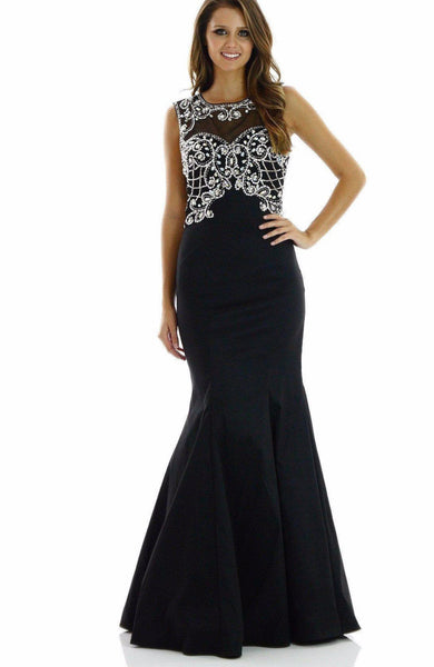 Cheap sexy mermaid dress with crystal beaded bodice and open back 101-7026blk Prom dress - Simply Fab Dress